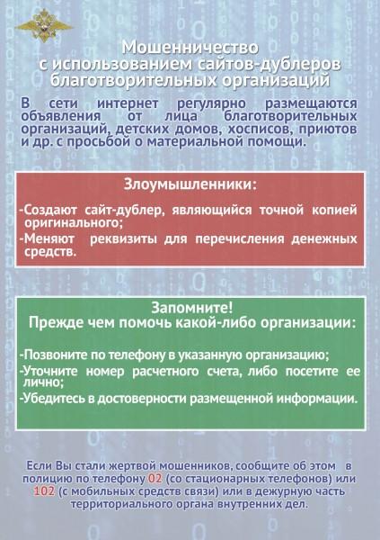 Осторожно: мошенничества с использованием сайтов-дублеров благотворительных организаций