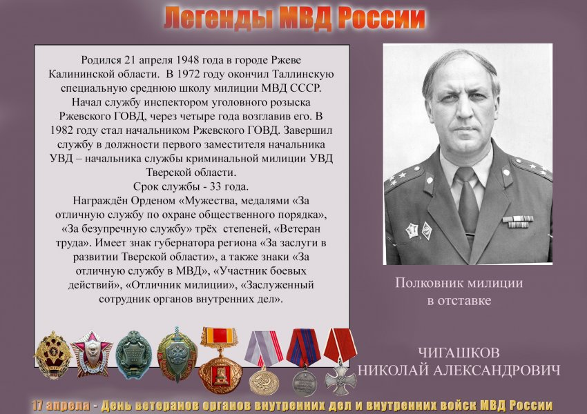 17 апреля – День ветеранов органов внутренних дел и внутренних войск